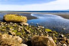 在Qualicum海滩的岩石 库存照片