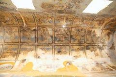 在Quseir (Qasr) Amra沙漠城堡的壁画在阿曼,约旦附近 库存照片