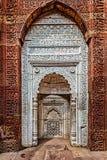 在Qutub复合体的装饰的墙壁。德里,印度 图库摄影