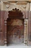 在Qutub Minar复合体的米哈拉布在德里,印度,回教 库存照片