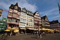在RÃ-MERBERG小山的历史建筑在主要的法兰克福,德国 免版税库存图片