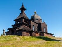 在Radhost山上面的木教堂在Beskids 免版税库存照片