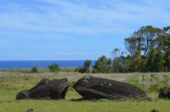 在Rano Raraku火山倾斜的Moais, Rapa Nui复活节岛 库存图片
