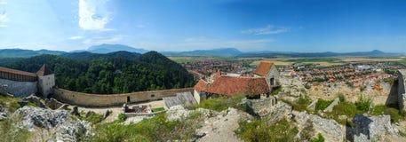 在Rasnov堡垒顶部的看法 免版税库存图片