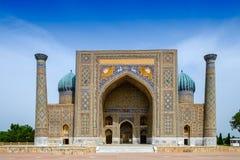 在Registan广场,撒马而罕的Sher Dor madrasah 免版税库存照片