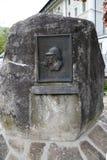 在Reichenbach的一块匾落达成协议的阿瑟・柯南・道尔先生的地方福尔摩斯征服詹姆斯・莫里亚蒂教授 免版税库存图片