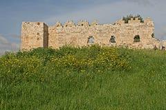 在remai的古老奥托曼堡垒废墟Tel Aphek-Antipatris 免版税库存照片
