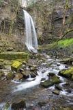 在Resolven附近的Melincourt瀑布,南威尔士 免版税库存图片