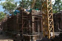 在resonstruction下; 一个古庙在吴哥窟地区 库存图片
