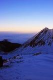 在Retezat山的美好的日落,罗马尼亚 免版税库存照片