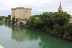 在RhÃ'ne河,法国的Tarascon城堡 免版税库存图片