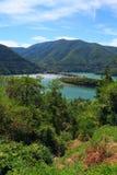 在Rhodopes山的Vacha水坝,保加利亚 免版税库存图片