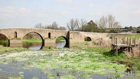 在Ribeira重创的河的罗马桥梁在Monforte镇, Portalegre,葡萄牙区  影视素材