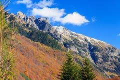 在Rila山的秋天蓝天 免版税库存图片