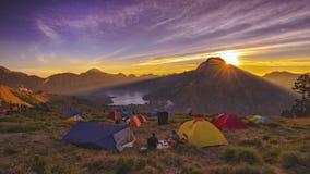 在Rinjani basecamp的日落 库存图片