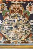 在Rinpung Dzong, Paro,不丹的古老壁画 免版税库存照片