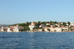 在Rogoznica港口的日落 库存图片