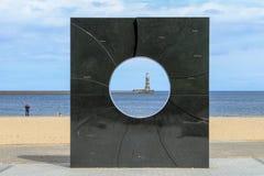 在roker码头的灯塔 库存照片