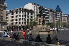 在rossmarkt,法兰克福,德国的约翰尼斯古腾堡纪念碑 库存图片