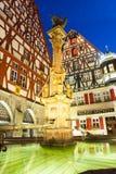 在Rothenburg ob der陶伯的Marketplatz 免版税图库摄影