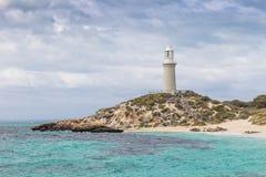 在Rottnest海岛上的巴瑟斯特灯塔 免版税库存图片