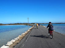 在Rottnest海岛骑一辆自行车 免版税库存图片