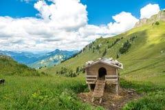 在Rotwand山上面,巴伐利亚,德国附近的木鸡舍 免版税图库摄影