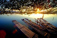 在Rowo Jombor, Klaten,印度尼西亚的日出 库存照片