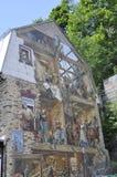 在Rue du从老魁北克市的Petit Champlain的Fresque在加拿大 库存照片