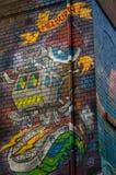 在Rutledge车道的街道艺术在墨尔本,澳大利亚 免版税库存图片