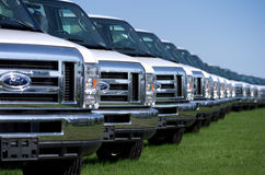 在RV装配厂的卡车 免版税库存照片