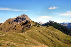Saalfeld高山足迹在蒂罗尔 库存照片