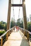 在Sai Yok亚伊瀑布,北碧的河桥梁 库存照片