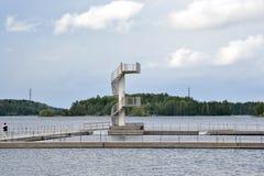 在Saimaa湖的潜水塔 库存照片