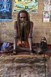 在samadhi的一jattadhari sadhu在瓦腊纳西,印度 免版税图库摄影