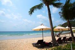在Samed海岛的海滩睡椅和可可椰子树 库存照片