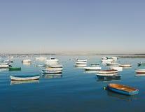 在Sancti栓的老渔船陪替氏,安大路西亚 图库摄影