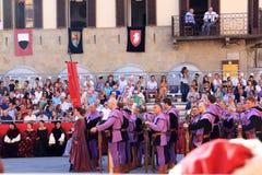 在Sansepolcro,意大利的石弓比赛 免版税库存照片