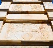 在santo的mykonos老建筑学白色背景十字架 库存照片