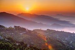 在Sarangkot观点的早晨在博克拉附近在尼泊尔 图库摄影