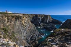 在Sardao海角在Vicentine的Cabo Sardao的峭壁在阿连特茹,葡萄牙沿岸航行 库存照片
