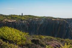 在Sardao海角在Vicentine Coa的Cabo Sardao的峭壁 免版税库存图片