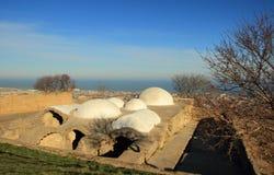 浴在Sassanid堡垒纳伦Kala在Derbent市,达吉斯坦共和国 图库摄影