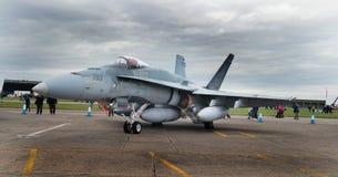 在Scampton飞行表演的麦克当诺道格拉斯公司CF-188大黄蜂2017年9月10日, 林肯郡活跃英国皇家空军基地 免版税库存图片