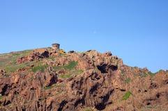 在Scandola自然保护,联合国科教文组织世界遗产名录的热那亚人的塔 免版税库存图片