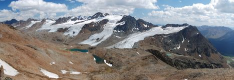 在schnalstal的冰川之上 库存照片