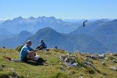 在Schneibstein顶部的远足者 免版税库存图片