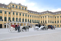 在Schonbrunn宫殿的马支架 免版税库存图片