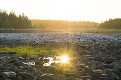 在Schoodic的日落在阿科底亚国家公园 免版税库存照片