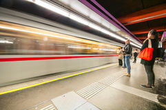 在Schottenring驻地的地铁在维也纳,奥地利 库存图片